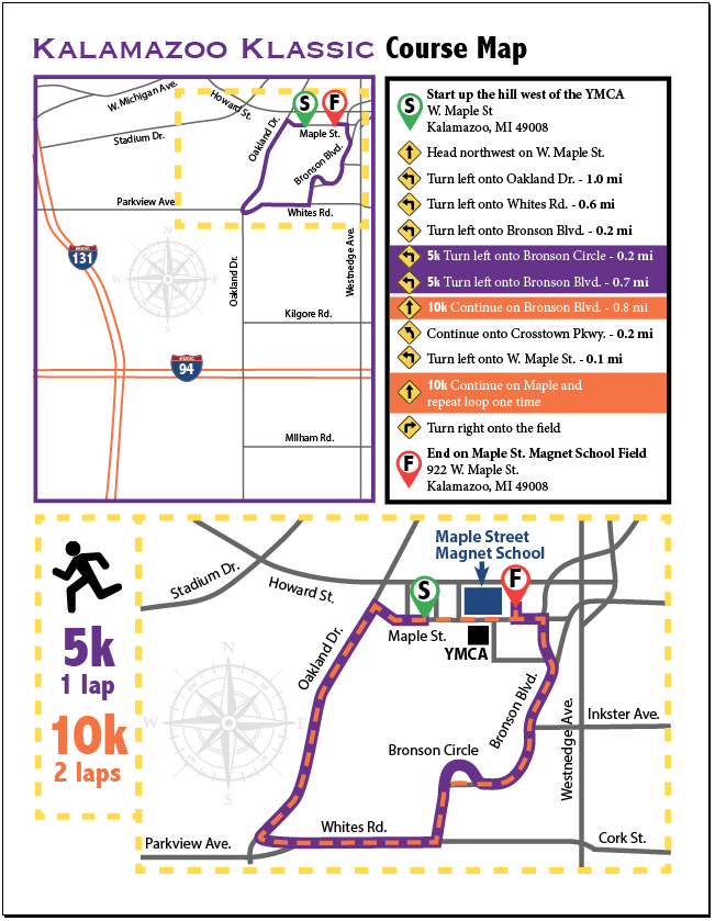 Kalamazoo Klassic 5k and 10k Map